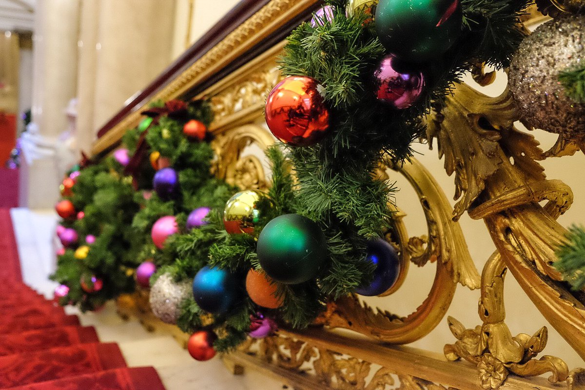 The Queen Is Clearly In The Festive Mood Because There Are Baubles On The  Bannisters As Well. Presumably, The Regal Santa Stop Here Sign For George  And ...
