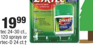 Zyrtec 24-30 ct., Rhinocort Allergy 120 sprays or Zyrtec-D 24 ct. - $19.99
