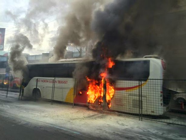Bus Caught on Fire along EDSA - Quezon City Caused Traffic