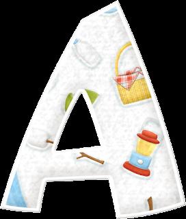 Alfabeto con Ítems de Acampada.