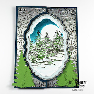 Our Daily Bread Designs Stamp Set:: Peaceful Wishes Custom Dies: Vintage Label Flip Fold Card with Layers, Double Pierced Vintage Labels, Trees and Deer, Paper Collection: Winter