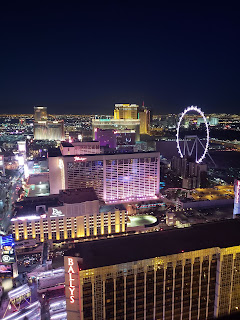 View from the Eiffel Tower observation deck in Paris Hotel Las Vegas Nevada