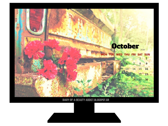 FREE October 2016 Desktop Wallpaper Calendar