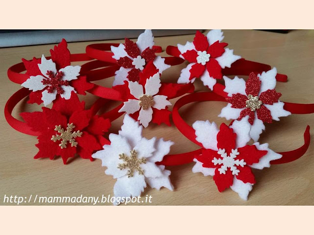cerchietti di natale con fiore in feltro e gomma crepla intercambiabile