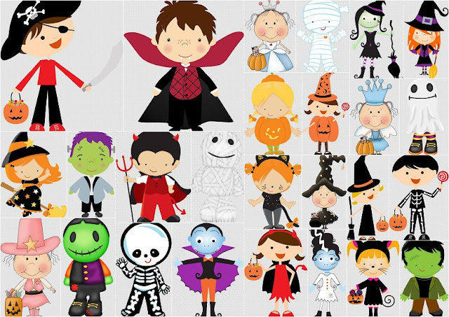Children Dressed for Halloween Clipart.