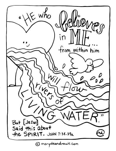 Rivers Of Living Water John  Printable Scripture Coloring Page