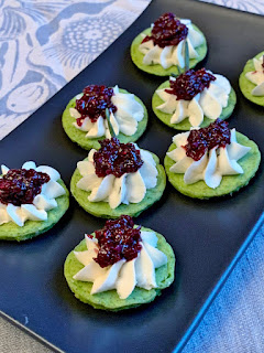Green Pea Pancakes with Cheee & Spicy Cranberry Relish