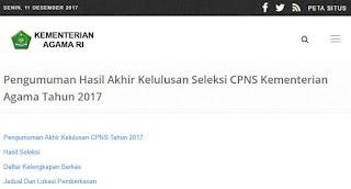 Pengumuman Hasil Akhir Seleksi CPNS Kementerian Agama Tahun 2017