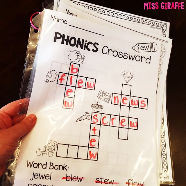 Put phonics worksheets in sheet protectors to reuse with dry erase markers