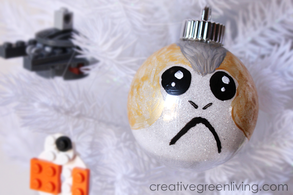 Porg Christmas ornament craft tutorial -Lego BB8 ornament and lego millennium falcon ornament in background