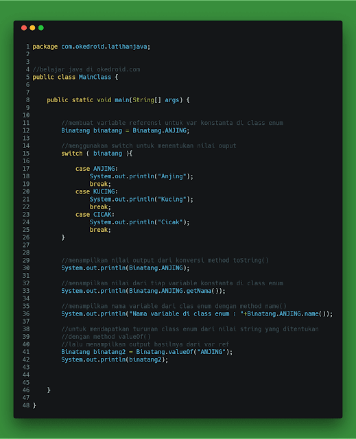 contoh code fungsi enum enumarasi enumeration di java