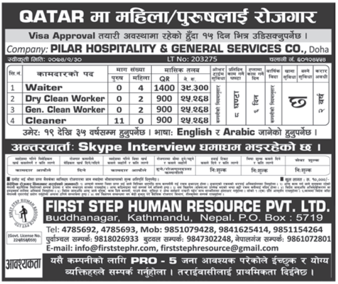 Jobs in Qatar for Nepali, Salary Rs 39,300