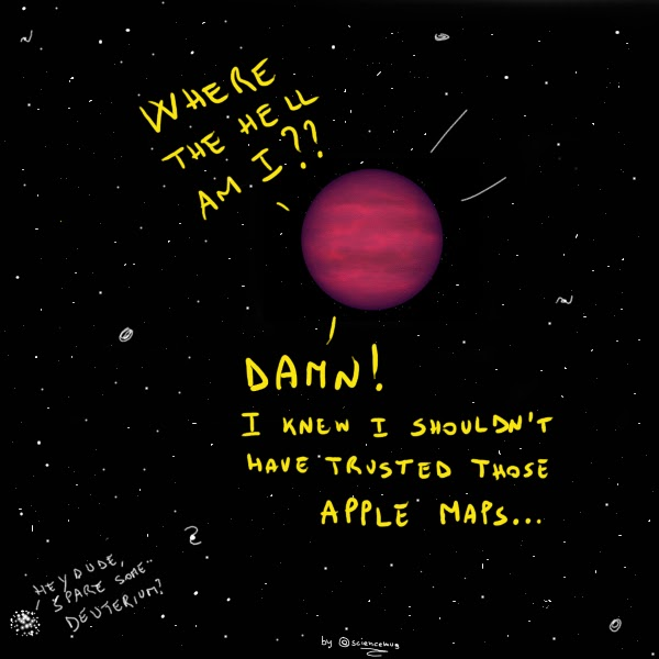 A cartoon: the rogue planet lost in space complaining about the bad quality of Apple maps (by sciencemug)