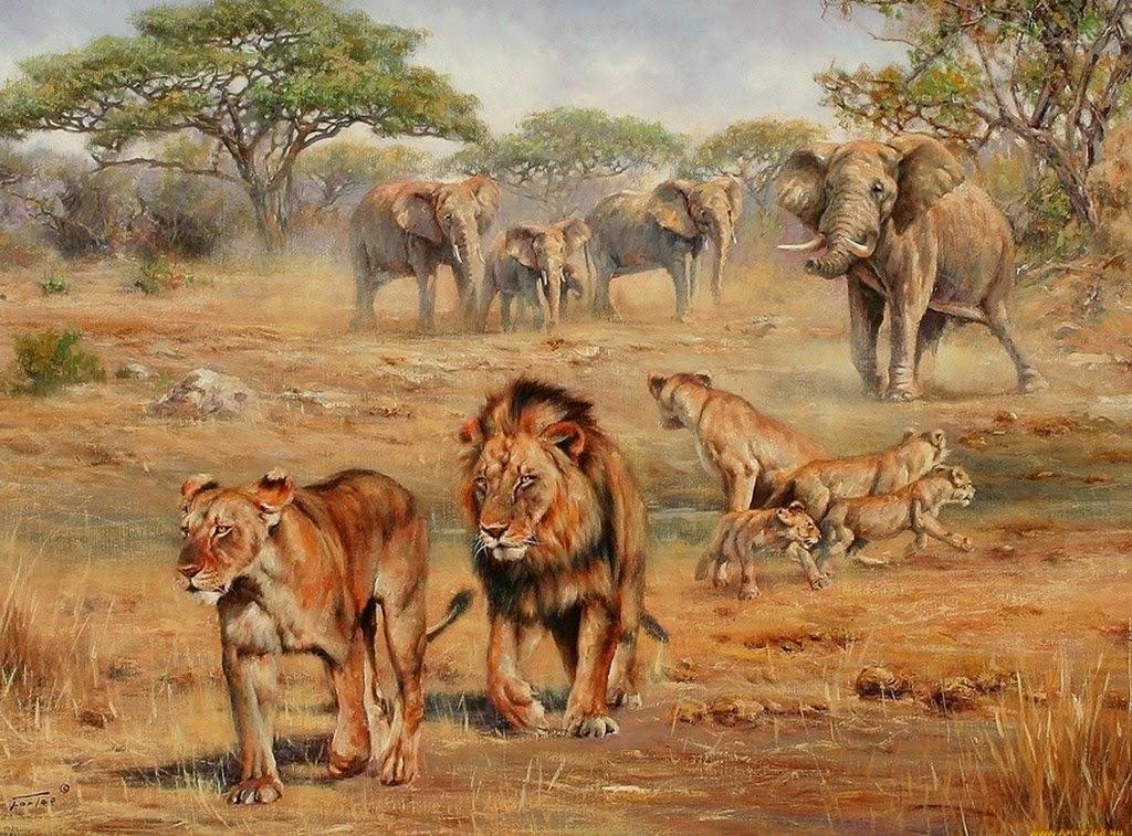 Paisajes De Animales: Imágenes Arte Pinturas: Dibujos De Animales Africanos Al