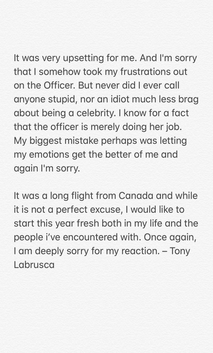 Tony apologizes