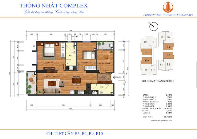 Thiết kế căn B3 - B4 - B9 - B10 tòa B chung cư Thống Nhất Complex