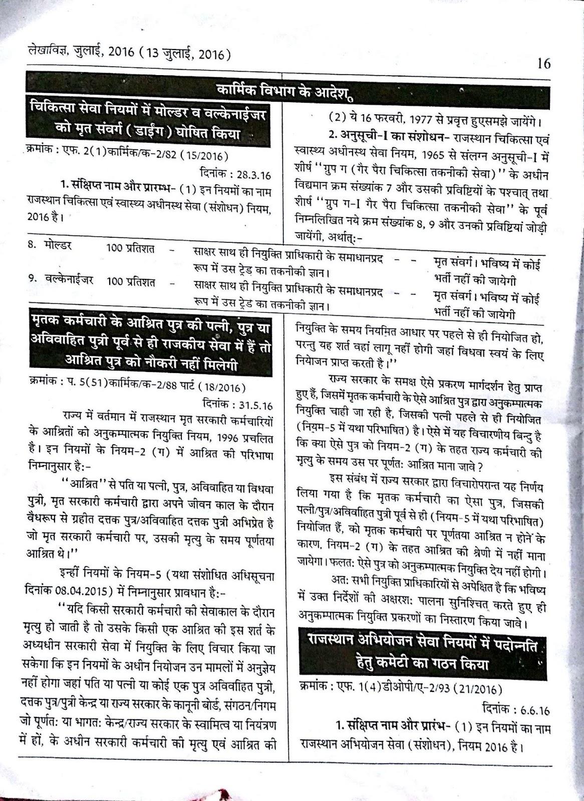 lekhavigya and rajasthan niyam rules : Lekha Vigya July 2016