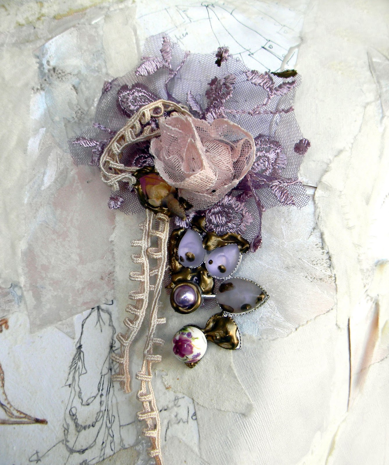 Unique Handcrafted Jewelry Statement Brooch Fashion Jewelry Vintage Shabby