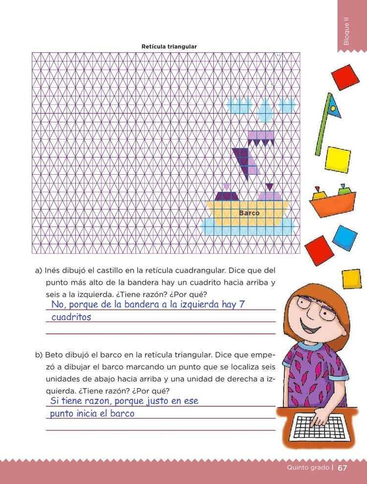 Cuadrados o triángulosDesafíos MatemáticosQuinto gradoContestado pagina 67