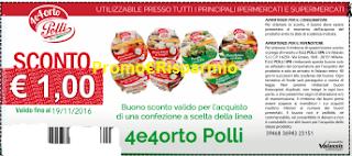 Logo Buono sconto '' 4e4 Orto Polli'' per prodotti linea sughi vegani e bruschette