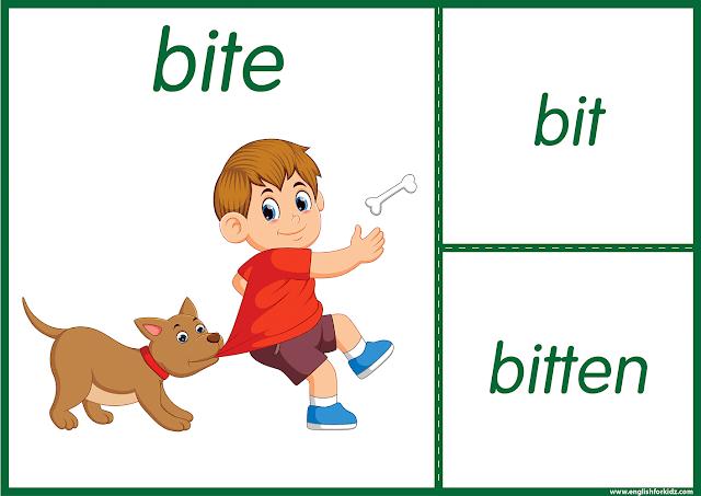 Irregular verb bite - printable ESL flashcards