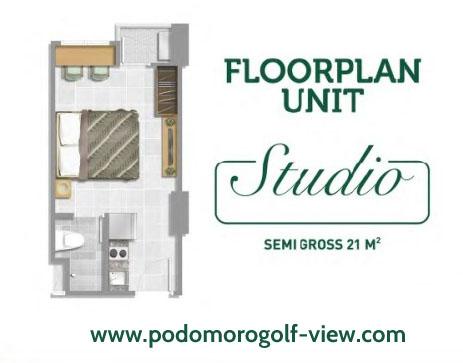 Floor Plan Tipe Studio Apartemen PGV Cimanggis