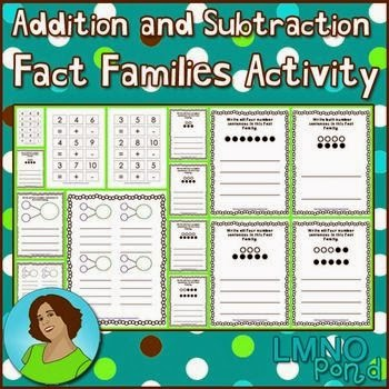 Number Names Worksheets printable fact family worksheets : Fact Family First Grade Activities - kindergarten first grade and ...