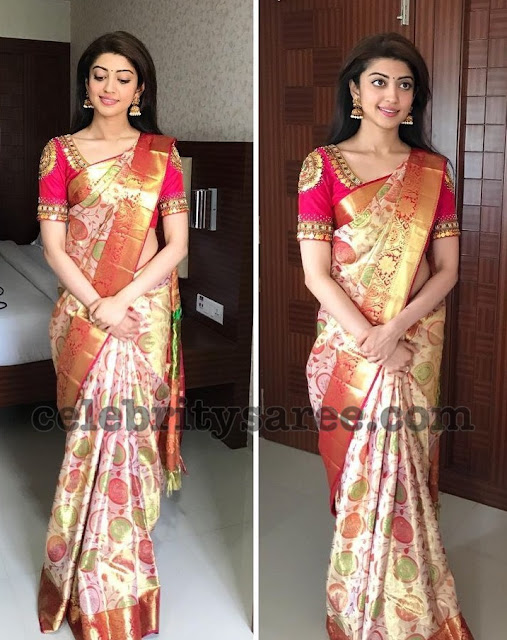 Pranitha Subhash Off White Saree