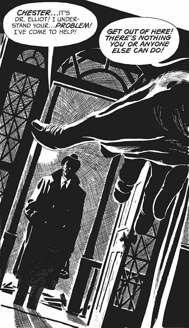 an Angelo Torres panel from a horror comic book, creepy eerie magazines