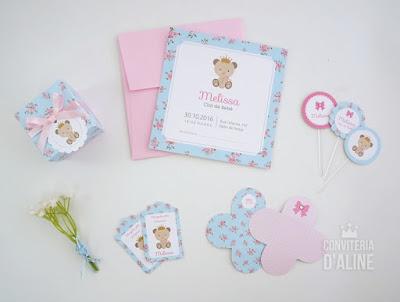ursinha princesa floral papelaria