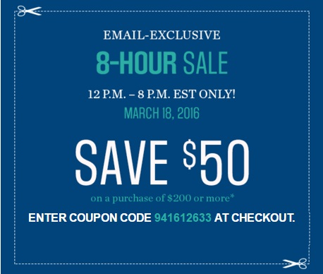 Sears 8 Hour Flash Sale $50 Off Promo Code