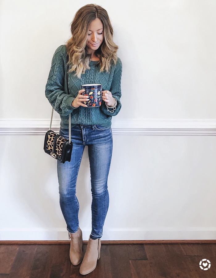 abercrombie green cable knit sweater