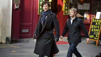 Benedict Cumberbatch and Martin Freeman as Sherlock Holmes and John Watson in Chinatown in BBC Sherlock Season 1 Episode 2 The Blind Banker