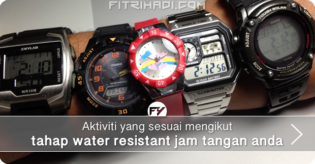 Info Aktiviti Mengikut Tahap Water Resistant Jam Tangan