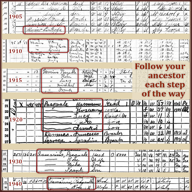 Follow your ancestors through each census to track family changes.