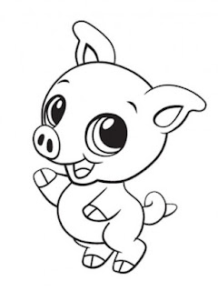 Cute Baby Pig Animal Coloring Pages Print