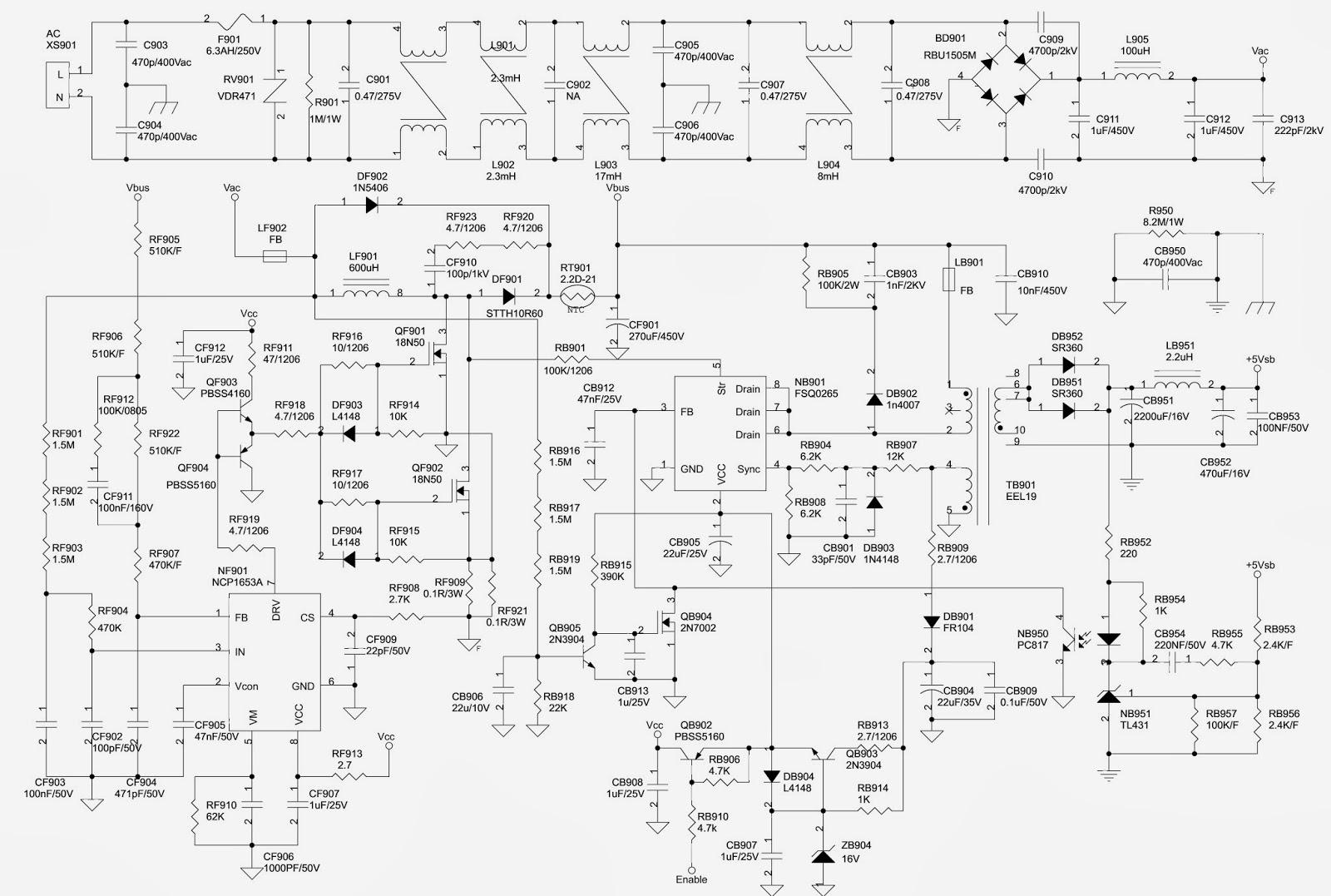 medium resolution of xv550xv600da lcd tv power supply schematic circuit diagram 1 10toshiba xv550 xv600da lcd tv power supply