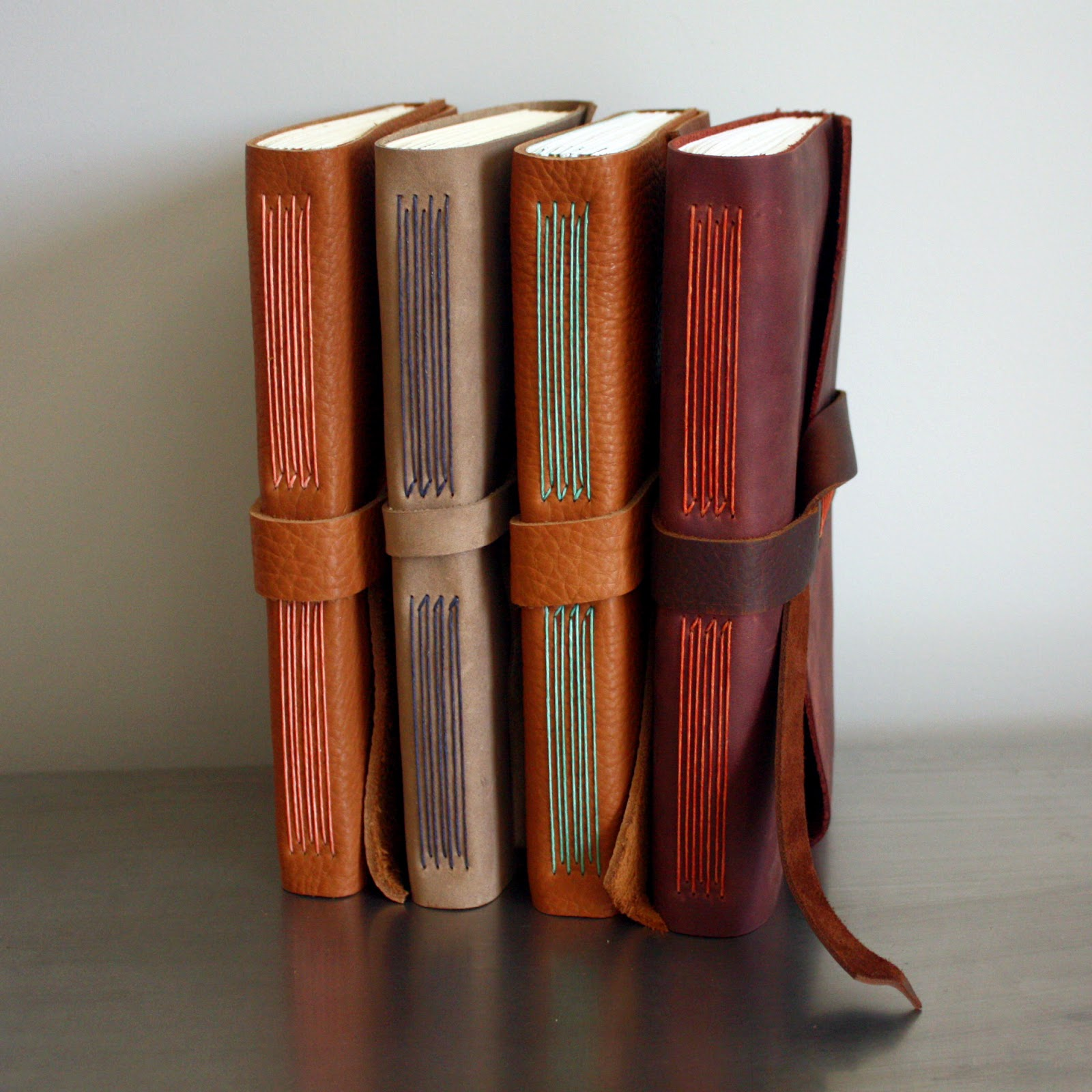 Leather long stitch books by linenlaid&felt