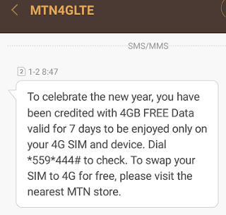 MTN IS GIVING OUT FREE 4GB (GRAB YOUR COPY)