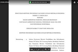 Peraturan Akreditasi Sesuai Permendikbud Tahun 2018 Sekolah/madrasah