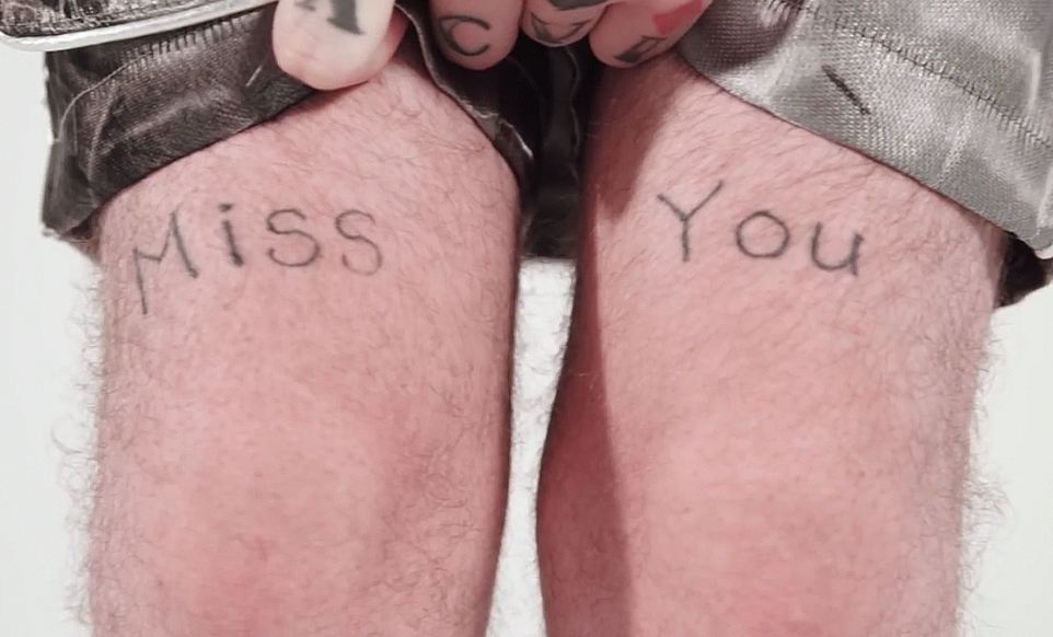 Miss you tattoo on legs
