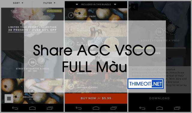 Share tài khoản VSCO