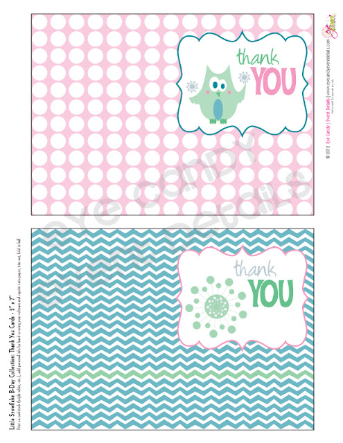 snowflake birthday party, thank you cards, kids winter birthday