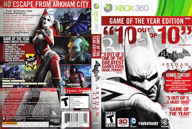 Capa xBox360 BATMAN ARKHAM CITY GAME OF THE YEAR EDITION