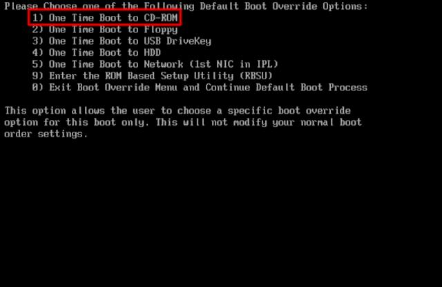 Menú de arranque de un servidor Proliant.