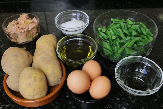 Ingredientes para ensalada de judías verdes
