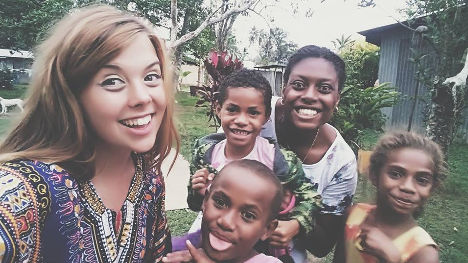 Catherine with her Fijian family