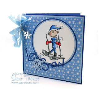 Bugaboo snow shoe digital stamp Christmas card, card design by Paperesse.