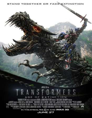 Poster Of Transformers Age of Extinction 2014 Hindi Dual Audio 700MB BluRay 720p HEVC Free Download Watch Online downloadhub.in