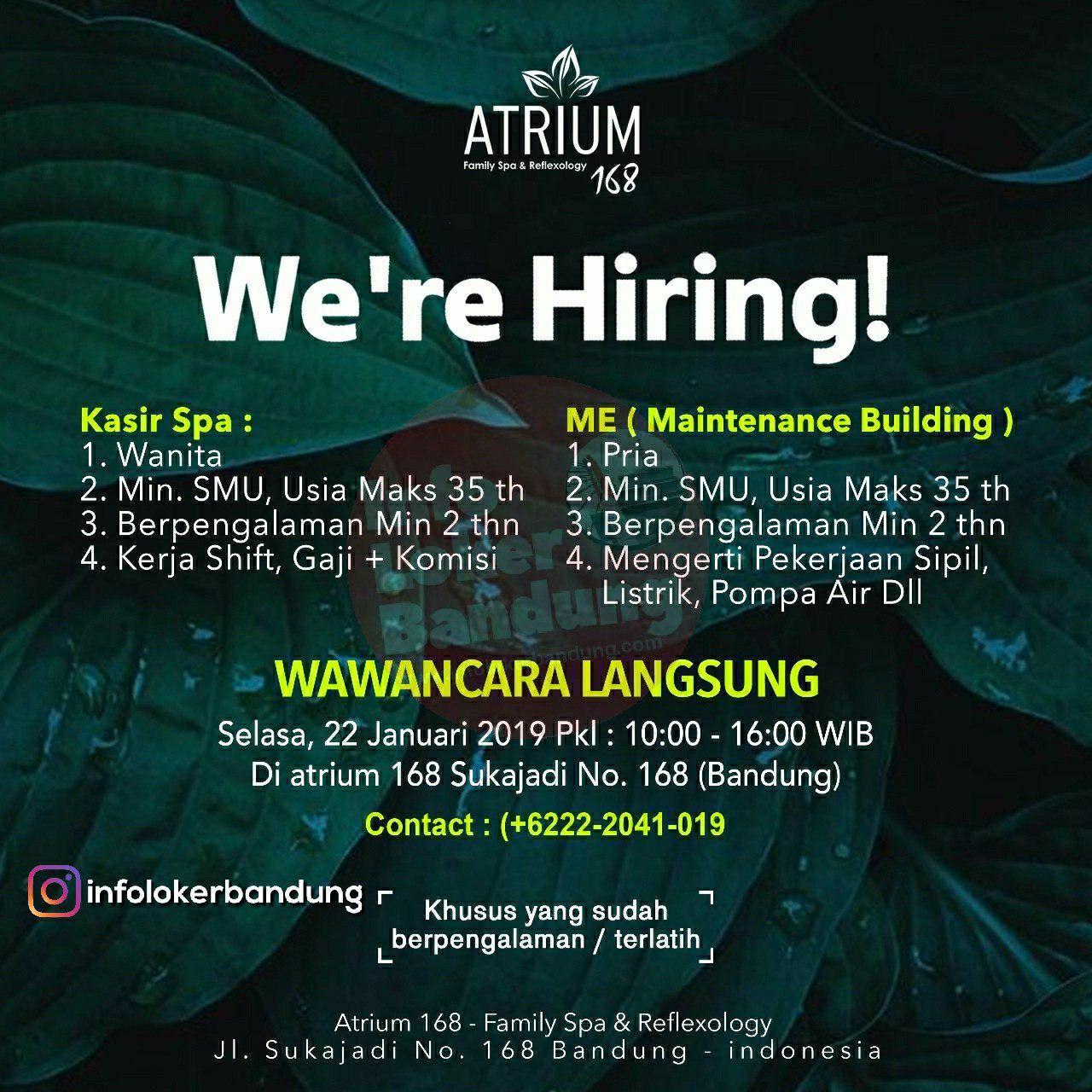Lowongan kerja Atrium 168 Family Spa & Executive Karaoke Bandung Januari 2019